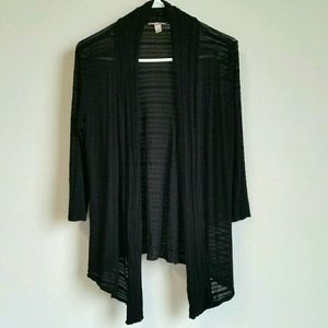 2/$15 DB 3/4 Sleeve Black & Sheer Striped Cardigan